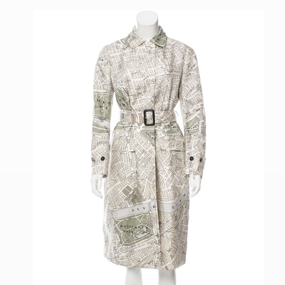Burberry London Map Print Silk trench coat size 46